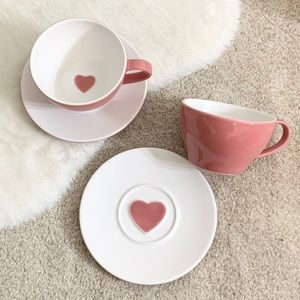 Starbucks Pink Valentines Cup & Saucer 2005 (x2)